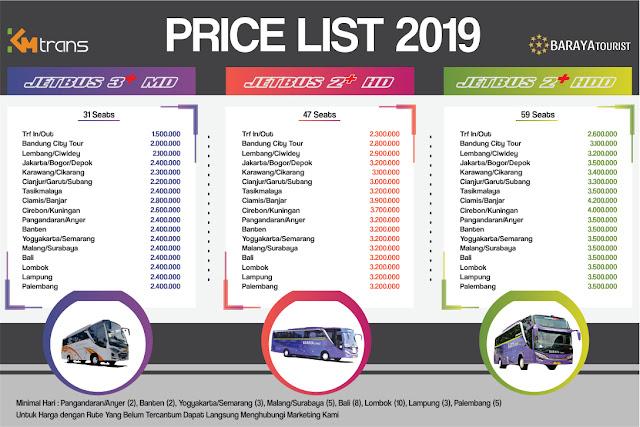Price List Sewa Bus Pariwisata SHD Terbaru 2019