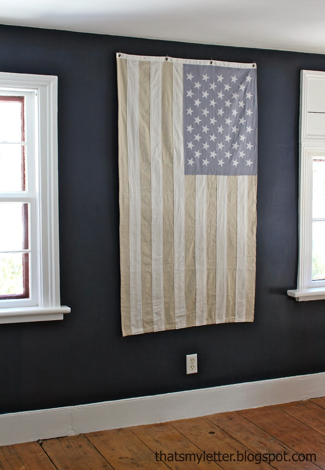 diy American flag neutral decor
