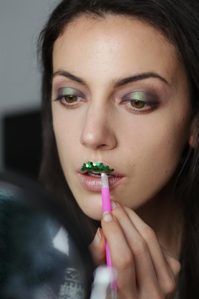 make up grün glitzer idee