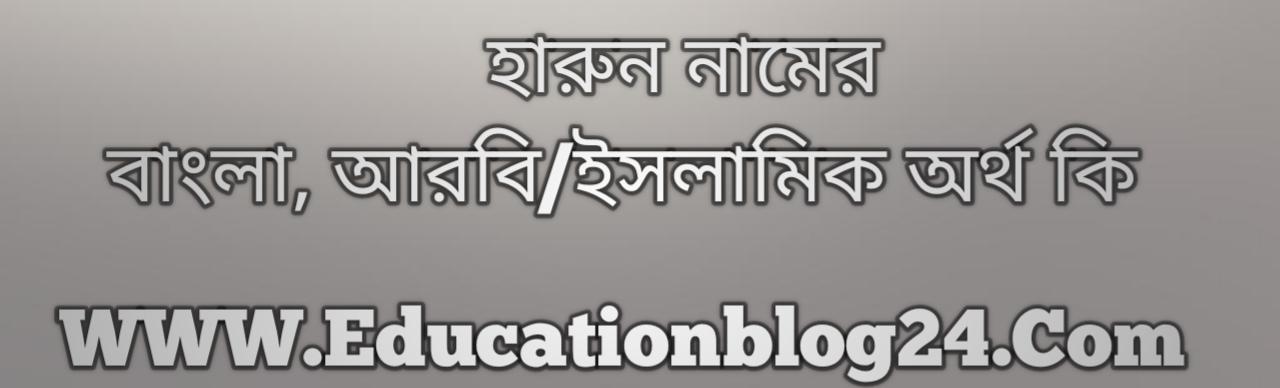 Harun name meaning in Bengali, হারুন নামের অর্থ কি, হারুন নামের বাংলা অর্থ কি, হারুন নামের ইসলামিক অর্থ কি, হারুন কি ইসলামিক /আরবি নাম