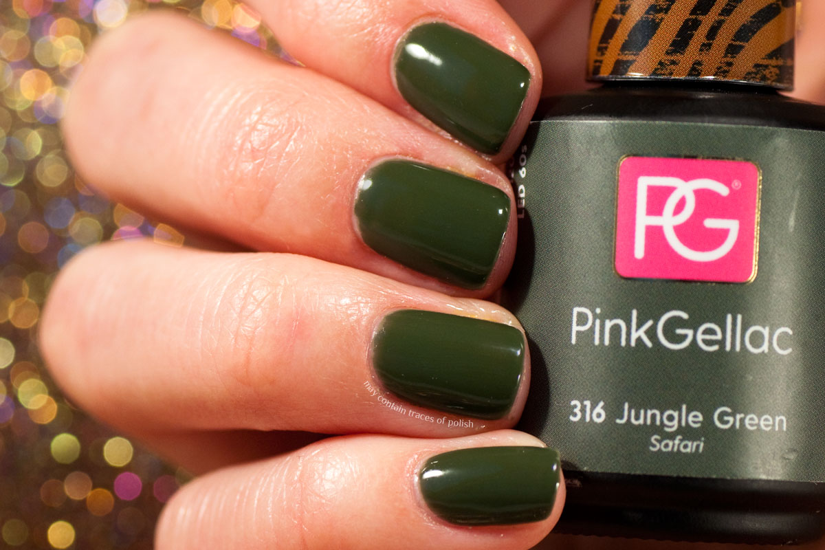 Pink Gellac Safari Collection Swatches - 316 Jungle Green