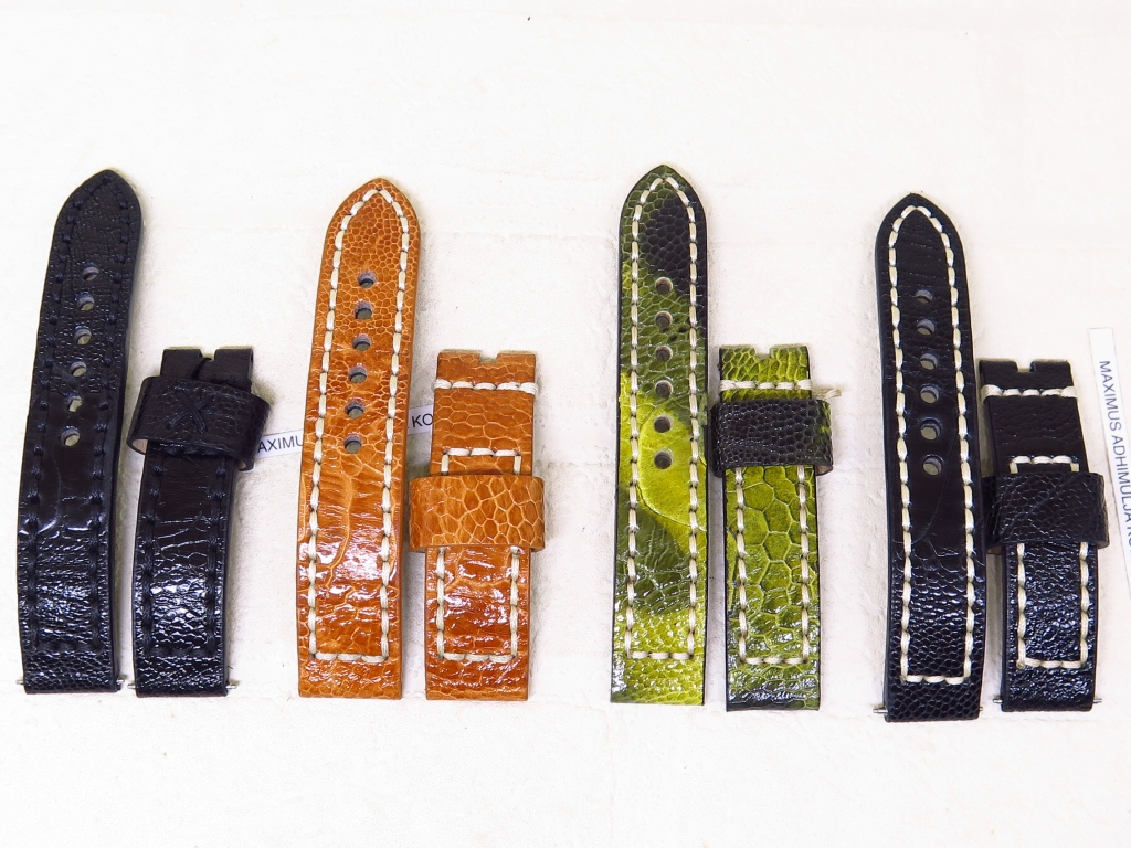 4 - STRAPS GENUINE OSTRICH THICK LEATHER STRAPS 22mm AND 20mm - CODE OA1/4 - OA4/4