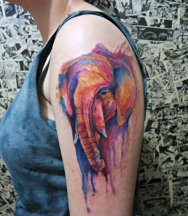 colorful elephant tattoo tumblr