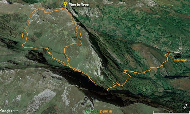 Map 3D de la ruta marcada al Pico La Tesa en el Parque Natural de Ubiñas-La Mesa
