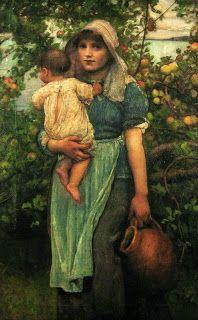Historias. Pintura de mujer pobre con niño y cántaro