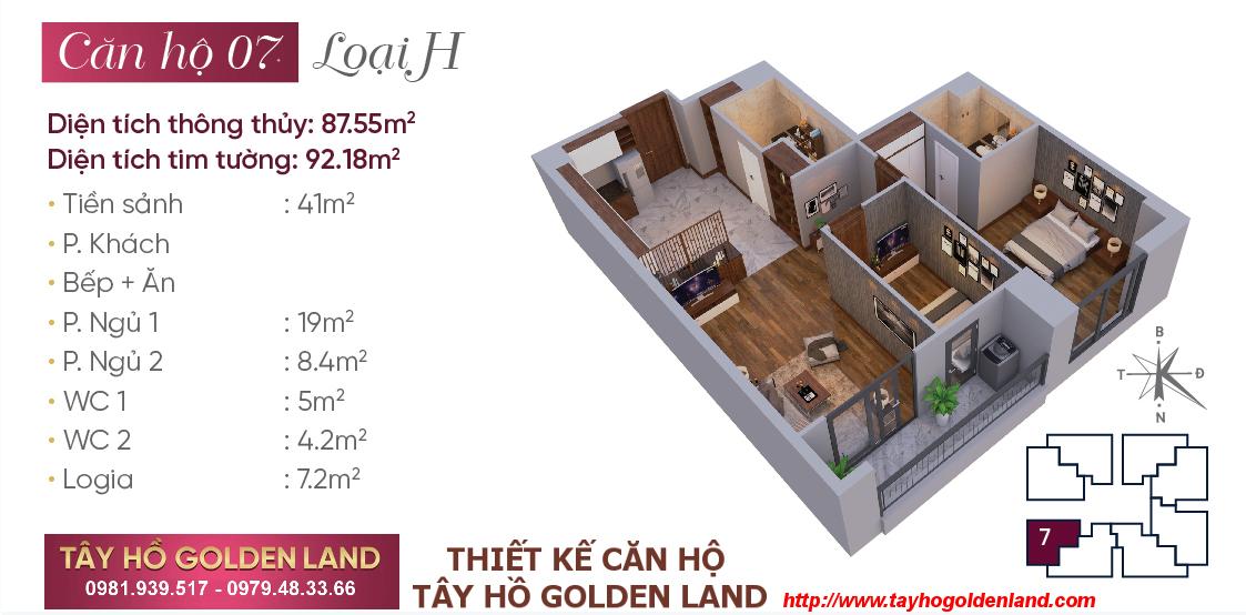 Hình ảnh Thiết kế căn hộ Tây Hồ Golden Land Căn 07 - Loại H
