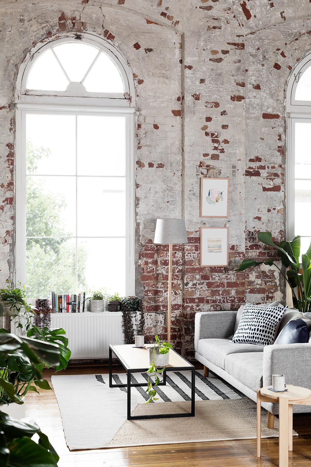 loft interior, mid century modern, interior design, boho style, bricks interior, houseplants