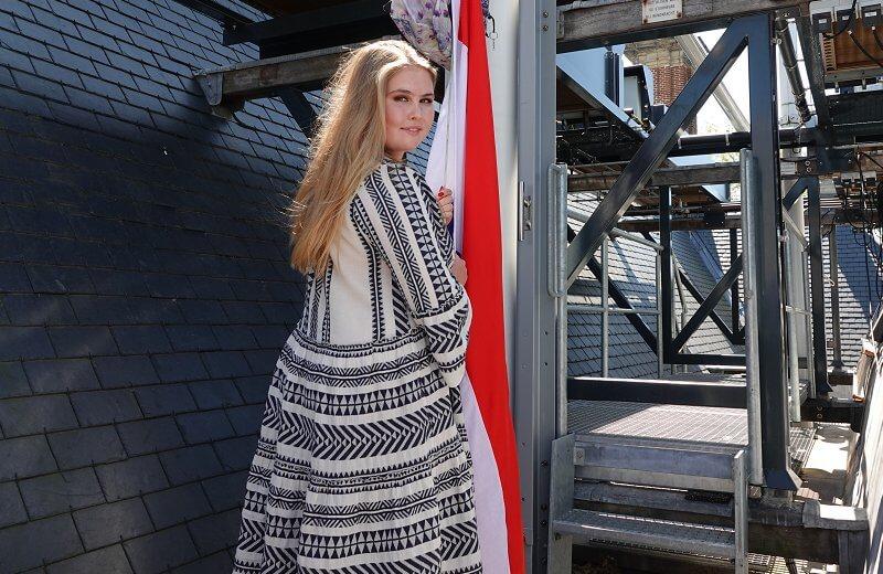 Crown Princess Catharina-Amalia wore a new ella boho style, flounce sleeve, midi navy dress by Greek designer, Devotion Twins