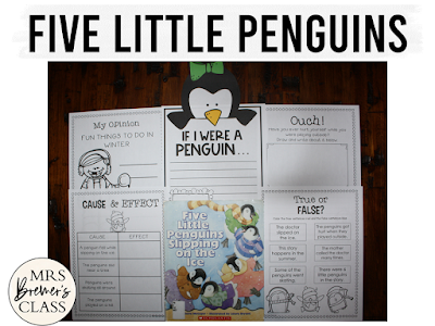 Five Little Penguins Slipping on the Ice book study winter literacy unit with Common Core aligned companion activities and a craftivity for K-1