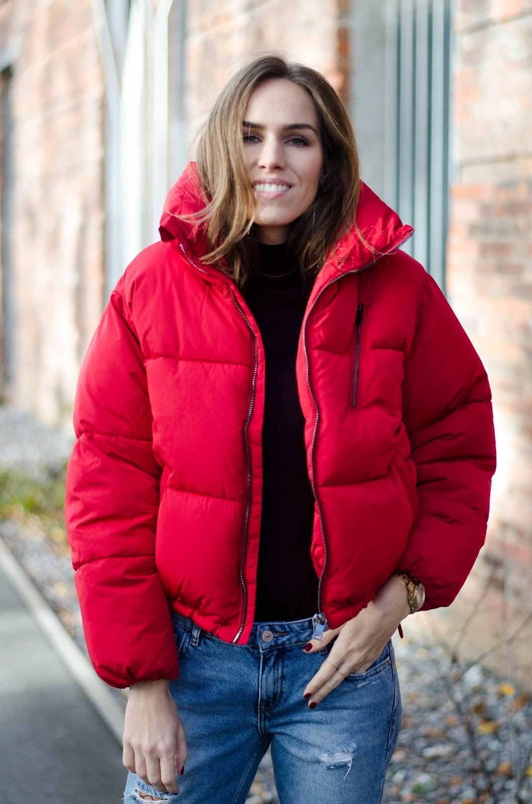 red puffer jacket fall 2016 outfit