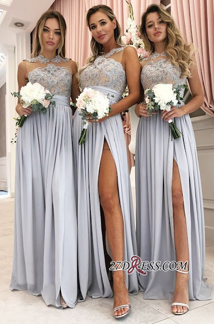 Glamorous A Line Sleeveless 2019 Bridesmaid Dresses | Front Split Lace Appliques Maid Of Hornor Dress