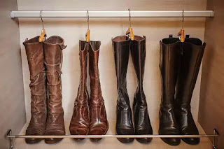 custom-made dressing room storage for boots