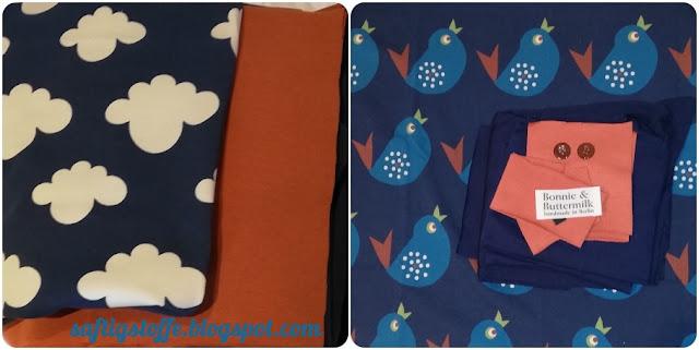 Jersey- und Sweatstoff-Sets zum Selbernähen. Blauer Stoff mit weissen Wölkchen, und blauer Jersey mit petrolfarbenen Vögelchen., orangefarbene Bündchen.