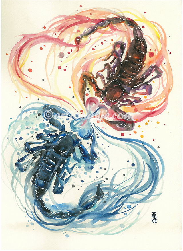 10-Dangerous-Love-Luqman Reza jongkie-Painting-Fantasy-worlds-with-Flowing-Watercolor-Animals-www-designstack-co