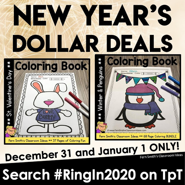 Hello Friends and Happy New Year's Eve! A large group of TpT Sellers are Ringing in the New Year with some wonderful $1.00 Deals for the next two days!