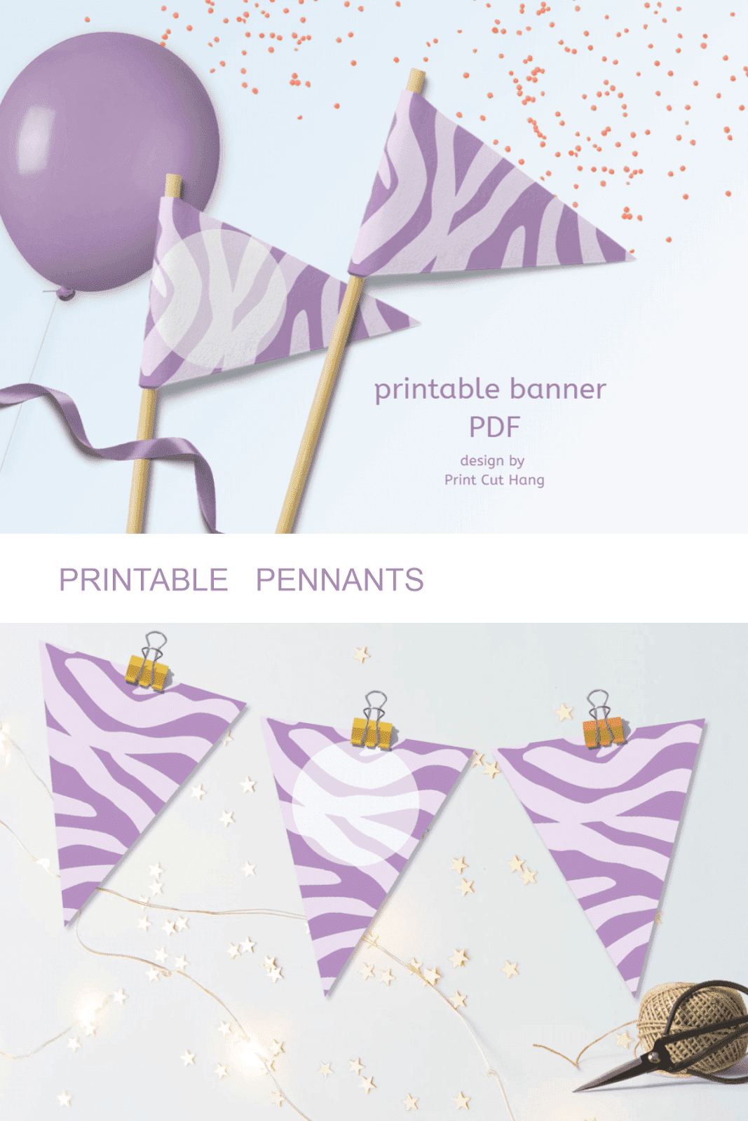 PRINTABLE PURPLE ZEBRA PENNANTS