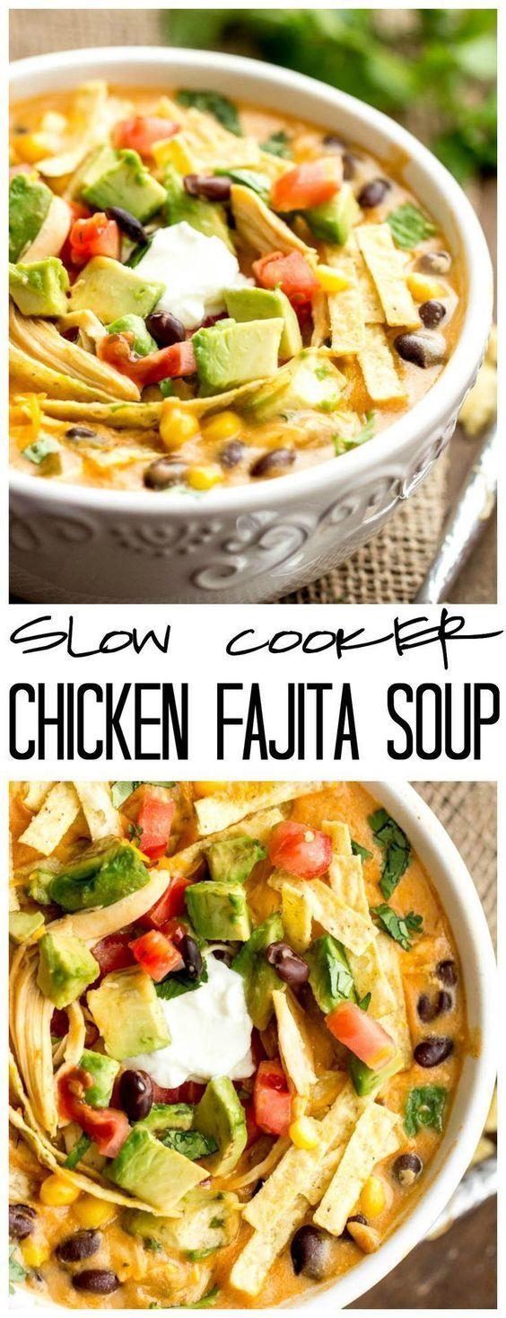SLOW COOKER CHICKEN FAJITA SOUP #slowcooker #chicken #chickenrecipes #fajita #chickensoup #soup #souprecipes #healthysouprecipes