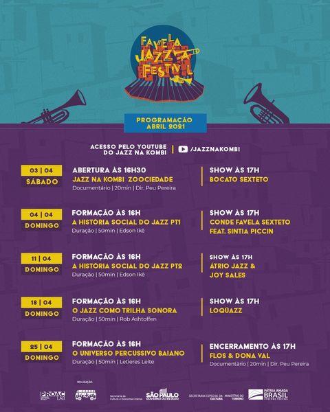 Levando o jazz para seu lugar de origem, o gueto, o Favela Jazz Festival é uma experiência audiovisual em forma de um evento gratuito e online que visa a entreter, divertir, informar e trazer conteúdos que permitam o aprofundamento no contato, vivência e reflexões acerca desse gênero que ainda é visto com muito elitismo.