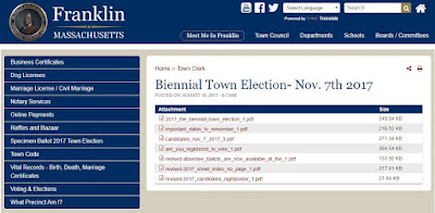 Biennial Town Election - Tuesday November 7, 2017