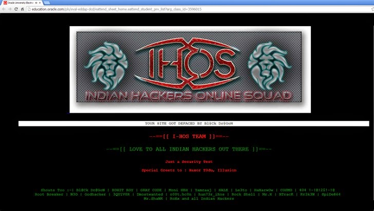 ORACLE Subdomain Page Defaced by Indian Hacker