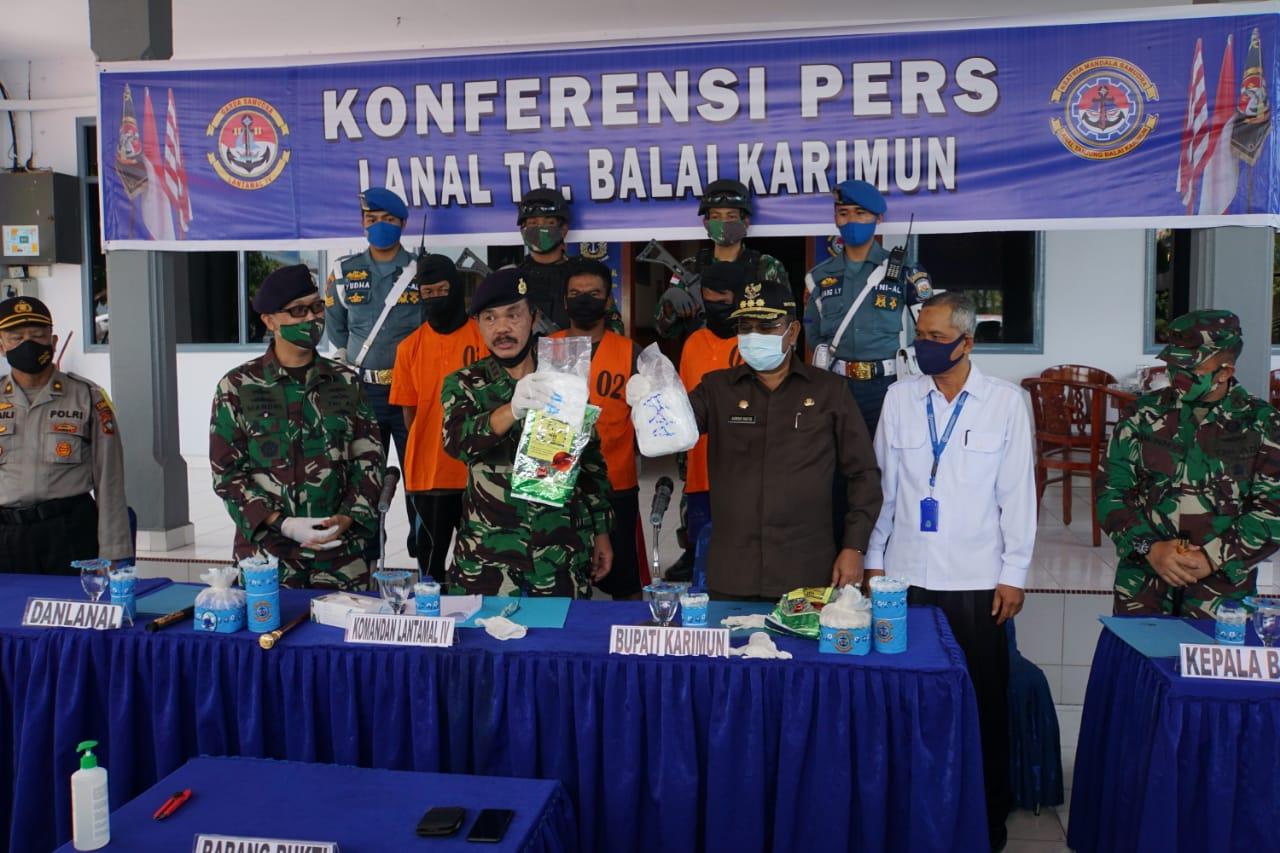 Mantap, Tim F1QR Lanal Tanjung Balai Karimun Gagalkan Penyelundup Narkoba Seberat 2Kg