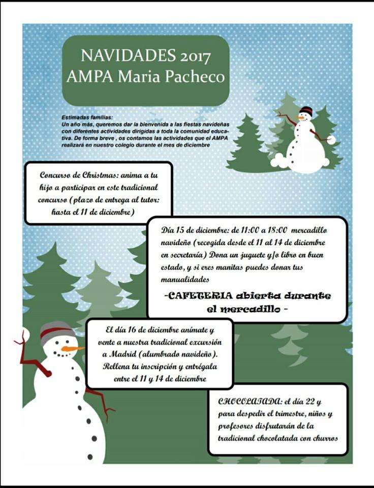 AMPA María Pacheco: Programa de navidad 2017 AMPA María Pacheco