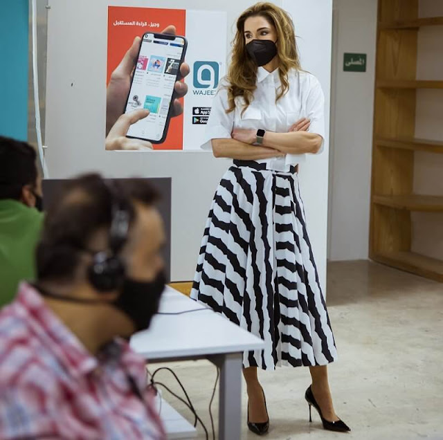Queen Rania wore a new long skirt and white shirt from Alaia. Maison Alaia skirt in cotton poplin with flared line and draped cut