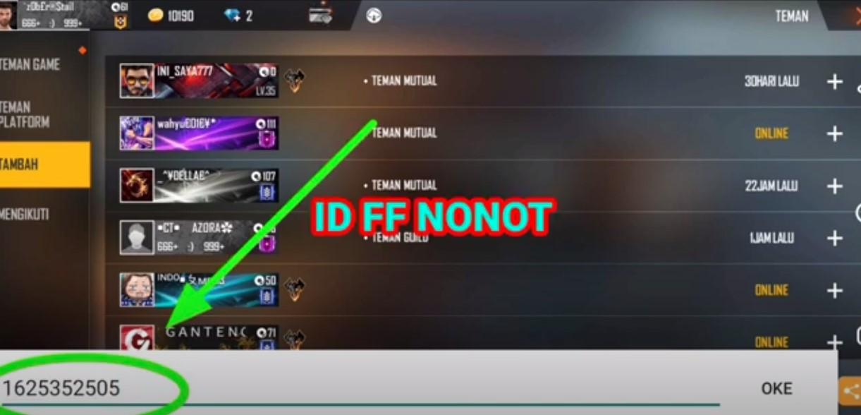 ID FF EVOS Notnot
