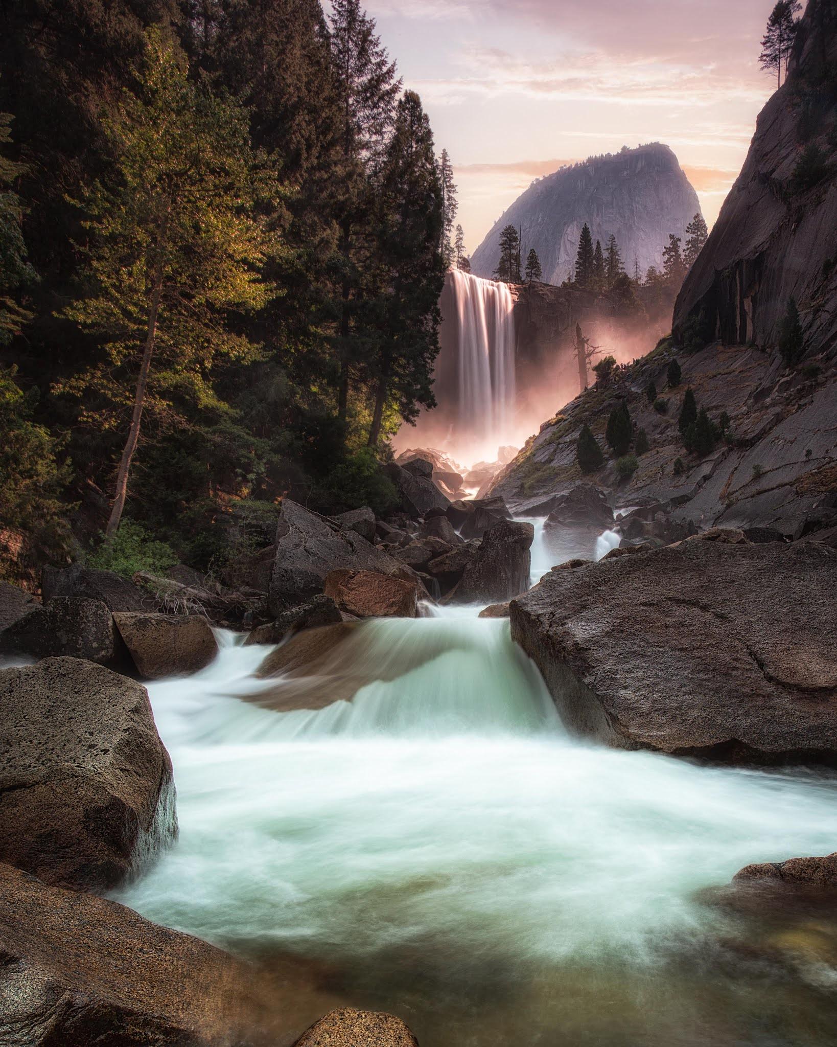 nature waterfall 4k mobile wallpaper