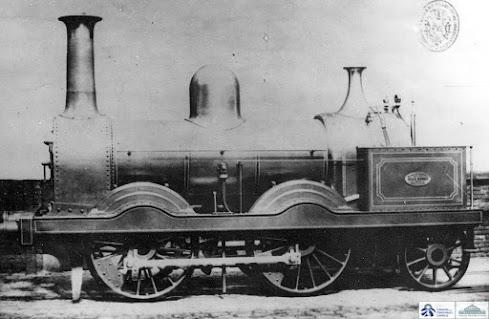 Primera imagen conocida de estas locomotoras (archivo Fernández Sanz)