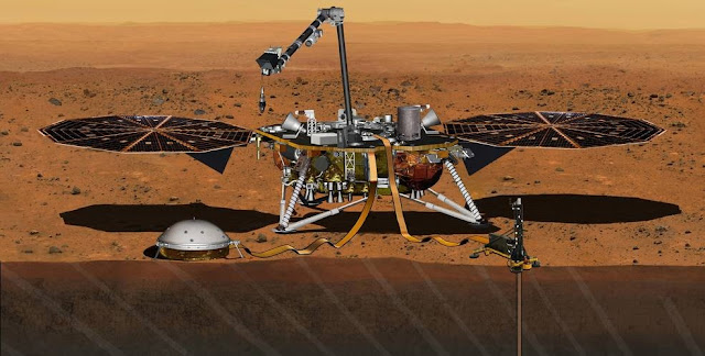 NASA has set a new launch opportunity, beginning May 5, 2018, for the InSight mission to Mars. This artist's concept depicts the InSight lander on Mars after the lander's robotic arm has deployed a seismometer and a heat probe directly onto the ground. InSight is the first mission dedicated to investigating the deep interior of Mars. The findings will advance understanding of how all rocky planets, including Earth, formed and evolved. Credits: NASA/JPL-Caltech