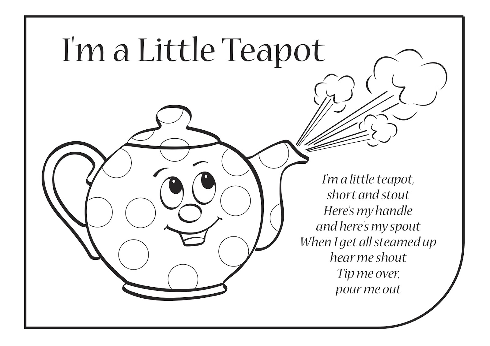I Am A Little Teapot Coloring Pages