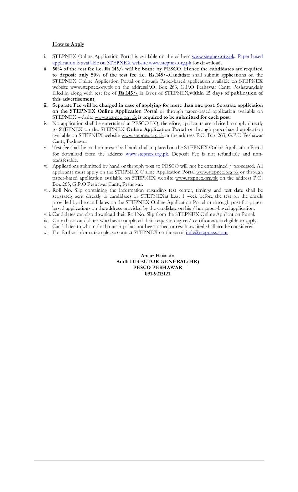 Peshawar Electric Supply Company PESCO Jobs 2019 for SDO/Junior Engineer & Revenue Officer