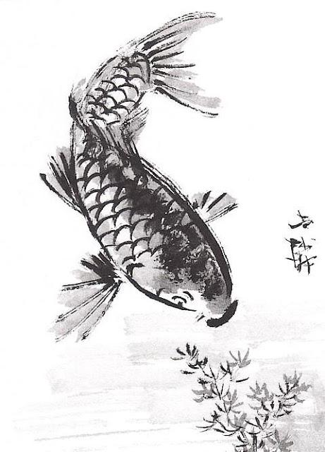 Line Art Xl 2012 : The helpful art teacher draw and paint koi carp using