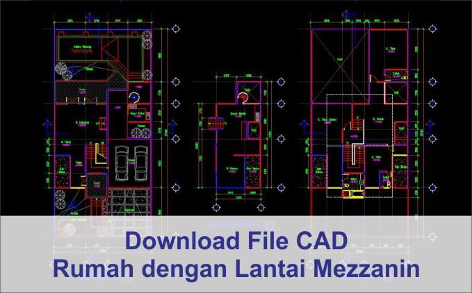download rumah lantai mezzanine autocad