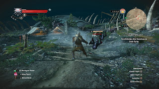Geralt knocks down an enemy using the shockwave spell.
