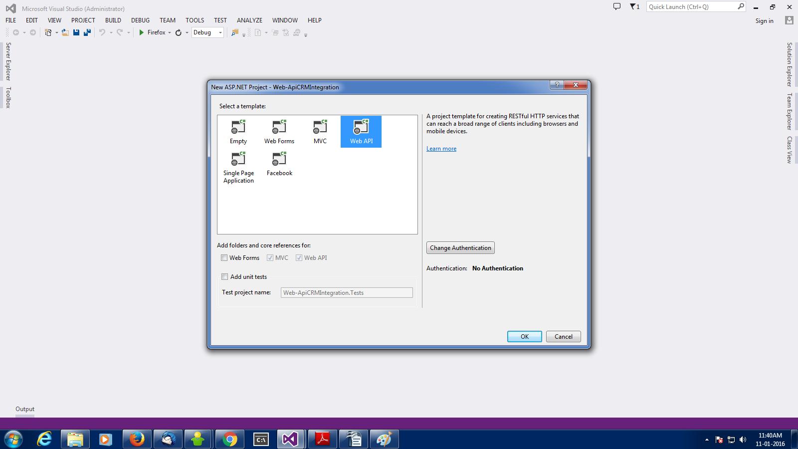 Integrating Microsoft Dynamic CRM with  Net Web-api - International Days