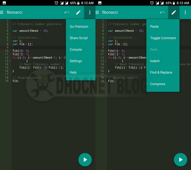 Code JS - Javascript Console dan Editor Untuk Android - blog.dhocnet.work