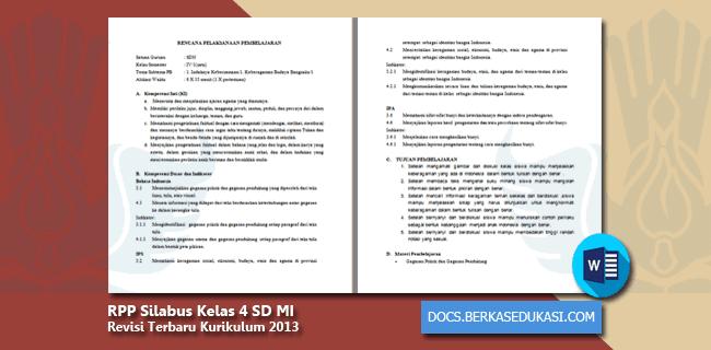 RPP Silabus Kelas 4 SD MI Revisi 2019-2020 Kurikulum 2013