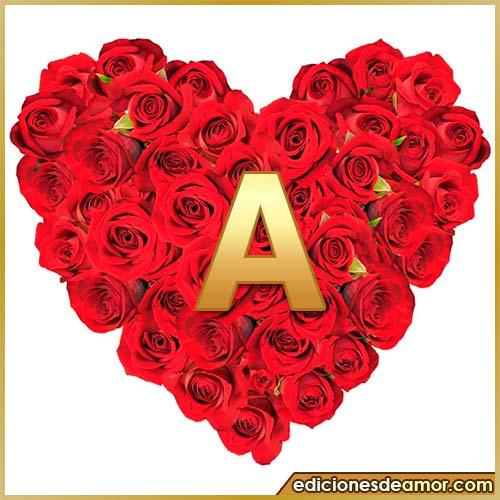 corazón de rosas con letra A