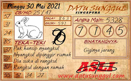 Prediksi Datu Sunggul SGP Minggu 30 Mei 2021