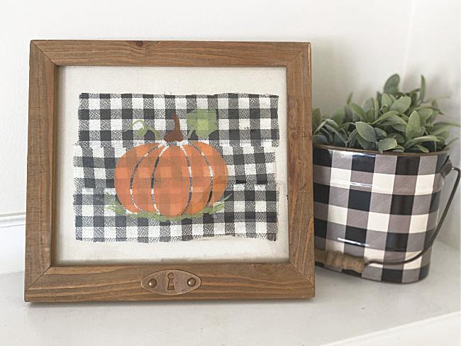 Buffalo check and stenciled pumpkin art