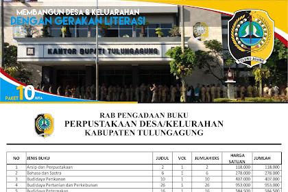 Contoh RAB Pengadaan Buku Perpustakaan Desa Kabupaten Tulungagung Provinsi Jawa Timur Paket 10 Juta