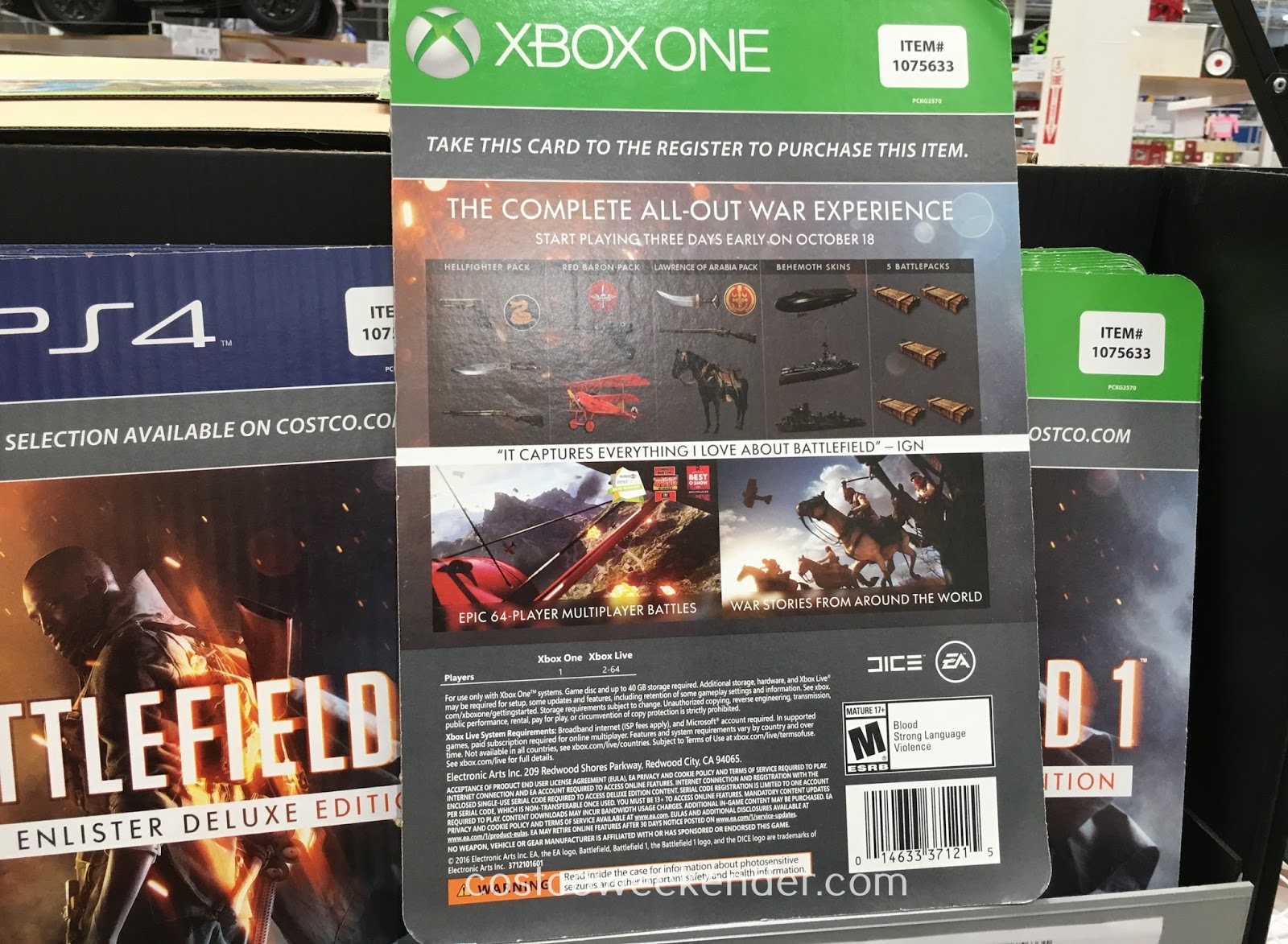 Costco 1075630 1075633 - Battlefield 1 available for both Xbox One and PlayStation 4