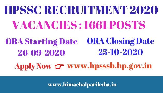 HPSSC Hamirpur Recruitment 2020 | For 1661 Various Posts | Advertisement No. 36-3/2020 | Himachal Pariksha
