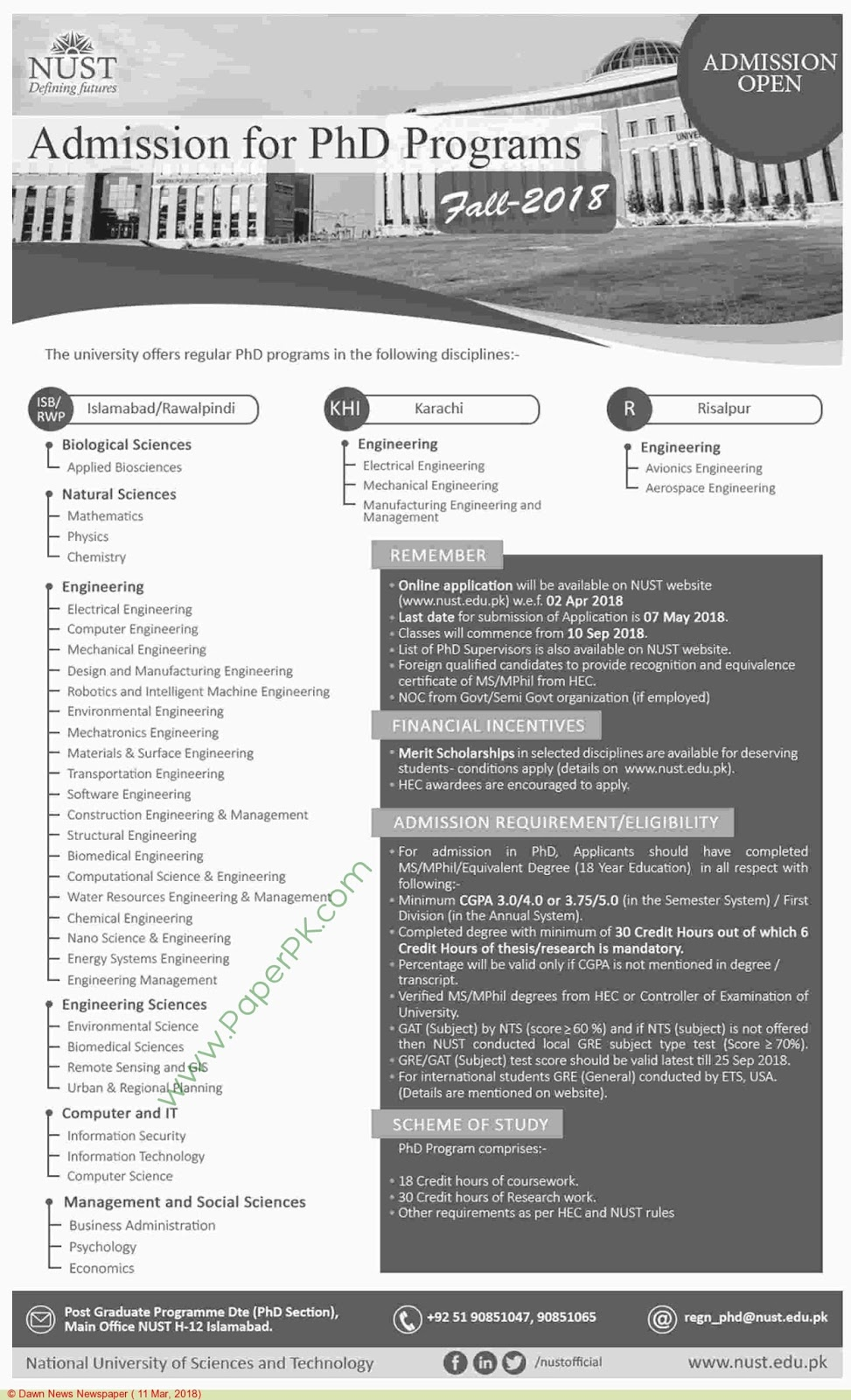 National University of Sciences & Technology PhD Admissions