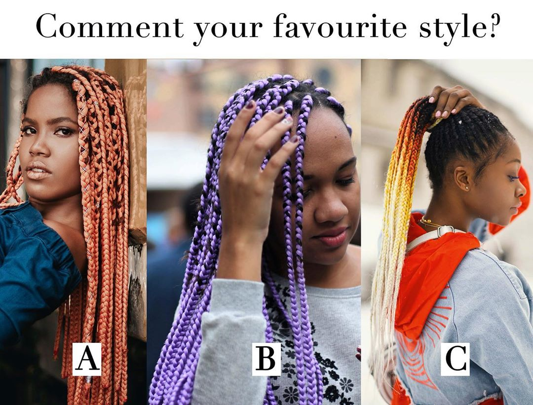 Box braids styled ideas