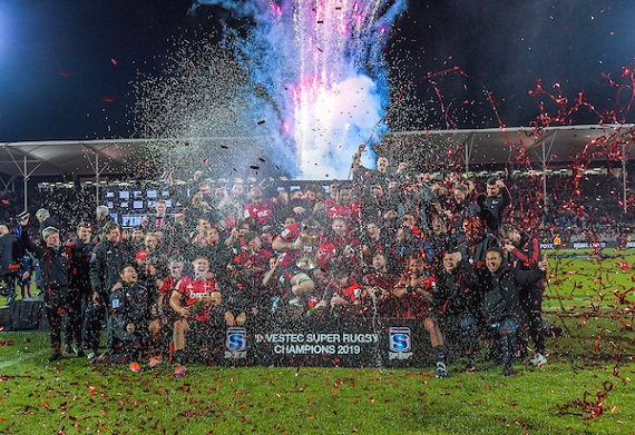 The Crusaders celebrate winning the 2019 edition of Super Rugby