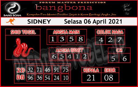 Prediksi Bangbona Sydney Selasa 06 April 2021