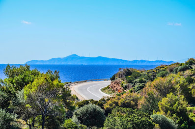 The cycling route from Athens to Cape Sounion